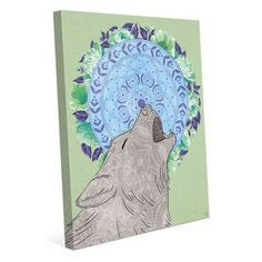 """Click Wall Art 'Howling Wolf' Graphic Art on Wrapped Canvas Size: 10"""" H x 8"""" W x 0.75"""" D"""