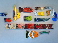 Wood Fish Art Handmade Decor Painted Olive Green Reclaimed