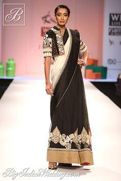 Ekru black and white embroidered saree