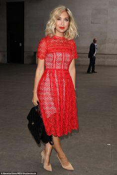 Myleene Klass sizzles in scarlet as she dons a flirty lace midi dress a4a1e6a30