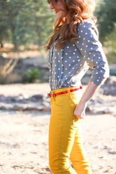 Love the mustard color and grey shirt. Not a huge fan of polka dots.