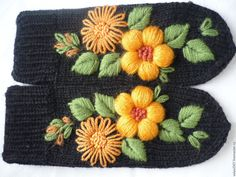 """Купить Варежки с вышивкой """"Дуэт"""" Оптом (от 5ти пар) 800 руб - разноцветный, цветочный"""