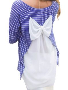 Sale 24% (8.99$) - Women Chiffon Patchwork Stripe Back Bow Loose T-Shirt