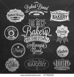 Vintage Retro Bakery Badges And Labels On Chalkboard by Invisible Studio, via Shutterstock  I quite like the baked bread logo at 11o'clock, the cake logo at 7o'clock and also the one at 6o'clock