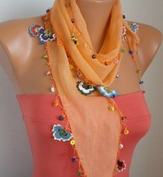Summer Scarf Shawl  Cotton Weddings Scarves  Cowl with by fatwoman, $21.00