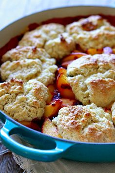 Peach Berry Cobbler with Sour Cream Biscuits. Maybe not sour cream biscuits Summer Desserts, Just Desserts, Delicious Desserts, Dessert Recipes, Yummy Food, Summer Recipes, Mixed Berry Cobbler, Sour Cream Biscuits, Homemade Sour Cream