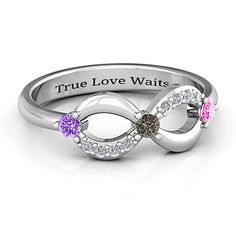 Three Stone Infinity Ring with Accents | Jewlr
