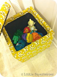 But a $10 storage cube at Wal-Mart recover it with 1 yard of fabric and a staple gun. Place beside bathtub for a place to sit while bathing the kids & a place to store all those bath toys! No Sew project!