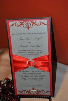 red black and silver wedding | Red, silver and black wedding invitation flat card with embellishments