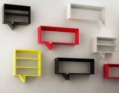Modern homes deserve some modern decorative shelves that fit the overall interior decor of the house. Rustic shelves may be trendy but it might make your home seem a bit off. Bookshelf Design, Wall Shelves Design, Bookshelves, Display Shelves, Kids Furniture, Furniture Design, Geek Decor, Ideias Diy, Wood Design