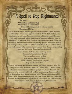 A Spell to Stop Nightmares for homemade Halloween Spell Book. Wiccan Spell Book, Wiccan Witch, Magick Spells, Witch Spell, Magic Spell Book, Wiccan Symbols, Magic Symbols, Viking Symbols, Egyptian Symbols