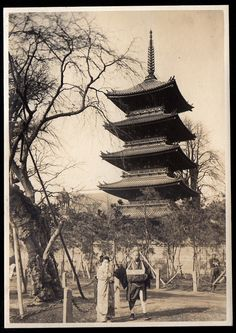 Vintage Japan - Five story Pagoda of Kohukuji Temple in Nara Japan in around 1914~1918