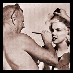 """Whitey Snider touching Marilyn's make-up on the set """"Some Like it Hot"""" 1959"""