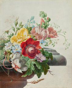 Натюрморт с цветами на каменном выступе Герман Хенстенбург (Herman Henstenburgh; 1667, Хорн - 1726, Хорн) - художник 18-го века из Северных Нидерландов, известен фруктовыми и цветочными натюрмортами, а также этюдами насекомых и птиц.