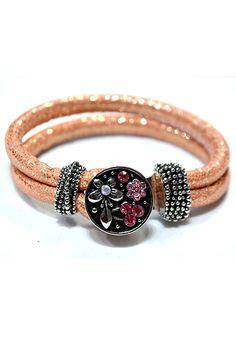JKP407-03 Sanp button Armband mit 1Chunk JKP8361 Pandora Charms, Bracelets, Leather, Jewelry, Fashion, Bracelet, Moda, Jewlery, Bijoux