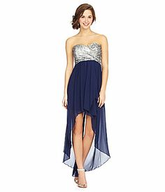 b991514bf363d Sequin Hearts Strapless Sequin HiLow Dress  Dillards - Navy and silver  sweat heart HiLow Hi