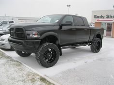 lifted dodge truck | Epic matt black truck I painted this week. - Yellow Bullet Forums