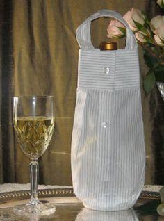 Reusable Travel Wine Bottle Carrier Tote Gift Bag Mens White Shirt Sleeve | eBay