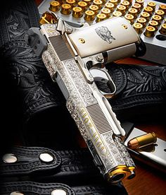 D Custom Centennial 1911 Pistol? This Centennial 1911 auto was completed to commemorate the year of John Browning's 1911 design The pistol was hand engraved, and inlayed with gold and silver, and fitted with scrimshawed legal ivory stock Weapons Guns, Guns And Ammo, Colt M1911, Revolvers, Colt 45, Armas Wallpaper, By Any Means Necessary, Custom Guns, Custom 1911 Pistol