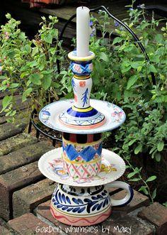Upcycled Whimsical Ceramic Candlestick by GardenWhimsiesByMary, $30.00