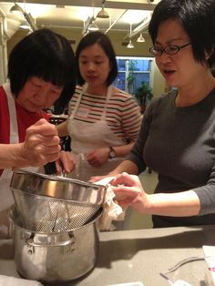 Making soy milk for DIY tofu in a cooking class. Just posted my class schedule for July through Nov 2012.