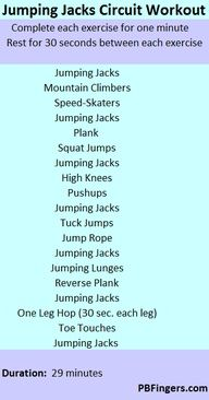 The jumping jacks circuit workout. Great exercise that takes you less than 30 minutes to complete! Fitness Tips, Fitness Motivation, Health Fitness, Fitness Routines, Workout Routines, Fun Workouts, At Home Workouts, Workout Exercises, Body Workouts