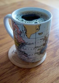 World Coffee Mug....perfect for exploring the world one cup at a time! #worldcafe #coppermoon A Wanna be World Traveler....like me must have the proper mug! This one fits in that catagory Fabulously!! <3