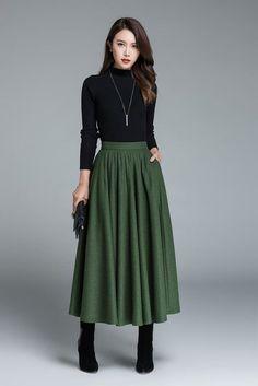 jupe en laine verte jupe dhiver jupe plissée vêtements par xiaolizi