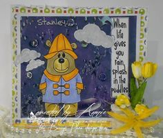 Beccy's Place - Stanley in the Rain Scrapbook Cards, Scrapbooking, Digital Image, Winnie The Pooh, Disney Characters, Fictional Characters, Rain, Bear, Places
