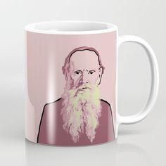 Author Leo Tolstoy pink pop art portrait coffee mug art print writer