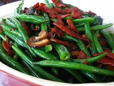 All That Splatters: Green Beans with Crispy Pancetta, Mushrooms, and Shallots