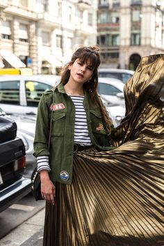 Shirt: the fashion fraction blogger pleated skirt metallic skirt long skirt patched jacket patch
