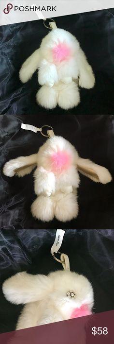 Fox fur rabbit keychain/bag charm Whimsical rabbit keychain shaped from plush fur Silver key ring Polyurethane  Fur type: dyed fox Imported Accessories Key & Card Holders