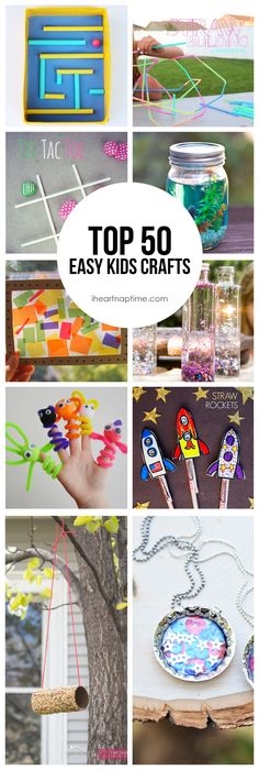 Top 50 Easy Kids Crafts- so many fun ideas! Top 50 Easy Kids Crafts- so many fun ideas! Easy Crafts For Kids Fun, Craft Activities For Kids, Summer Crafts, Toddler Crafts, Crafts To Do, Projects For Kids, Diy For Kids, Kids Crafts, Preschool Crafts