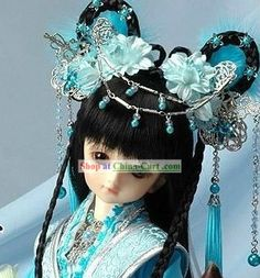 Ancient Chinese Imperial Princess Hair Accessories and Wig Complete Set rental set traditional buy purchase on sale shop supplies supply sets equipemnt equipments Pretty Dolls, Cute Dolls, Beautiful Dolls, Headdress, Headpiece, Chinese Dolls, Princess Hairstyles, Hair Reference, Science Art