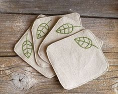 Green Leaves Coasters, a set of Hand embroidered, Natural Linen and Cotton, Nature Inspired Home Baby Embroidery, Embroidery Stitches, Embroidery Patterns, Fabric Coasters, Embroidered Gifts, Natural Linen, Needlework, Sewing Projects, Creations