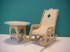 "Doll House Painted Cardboard ""Wicker"" Porch Furniture antique"