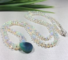 Ethiopian Wello Opal Knotted Necklace-Faceted Beads-Faceted Chalcedony Pendant-Gemstone Necklace-27 inches-Layering by IsaStone on Etsy