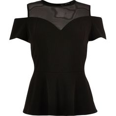 River Island RI Plus black mesh peplum top (£28) ❤ liked on Polyvore featuring tops, peplum tops, river island top, cut-out shoulder tops, mesh peplum top and cold shoulder tops