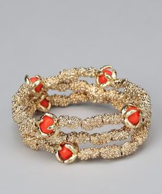 Take a look at this Coral & Gold Stretch Bracelet Set by Marlyn Schiff on #zulily today!