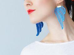 Blue Earrings Statement Earrings Lace Earrings Boho Earrings Long Earrings Leaf Earrings Fashion Earrings Bridal Earrings / TUBERO