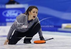 Russia's skip Anna Sidorova yells as the team plays Canada during the third end in the women's World Curling Championships in Sapporo, northern Japan, Saturday, March 21, 2015. (AP Photo/Shizuo Kambayashi)