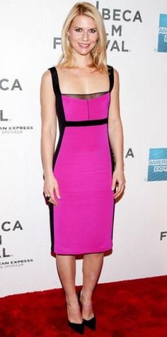 Look of the Day › April 24, 2012 WHAT SHE WORE For the Tribeca Film Festival premiere of Hysteria, Claire Danes added black heels to a two-tone Narciso Rodriguez design. WHY WE LOVE IT The neon hue wasn't all that was hot about this dress! The actress was a total knockout in the curve-hugging silhouette.