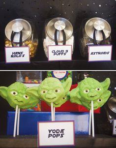 star wars lego party yoda marshmallow pops