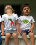 DIY Potato-Print ideas for baby and kid clothes.