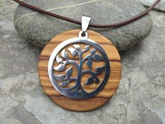 Wooden Necklaces – Necklace olive wood Tree of Life brown leather  – a unique product by Alentejoazul on DaWanda