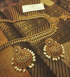 Black and gold saree
