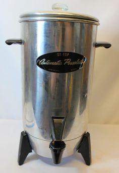 Mirro Aluminum Coffee Cider Hot Water Pot Percolator 22 Cup Electric Vintage