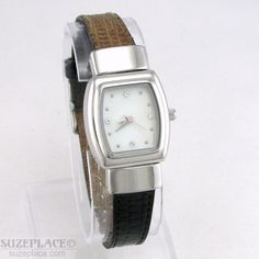 MARY KAY LADIES WATCH BLACK BROWN LEATHER REVERSIBLE BAND MOTHER OF PEARL DIAL #MaryKay #Casual SuzePlace.com
