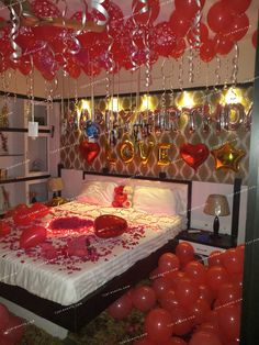 Birthday surprise room decoration on Wife's birthday at home. Make your loved one's feel special on their birthdays, anniversary with our creative room decoration ideas. Call on 8459776398 for bookings. Wedding Night Room Decorations, Romantic Room Decoration, Birthday Room Decorations, Romantic Bedroom Decor, Anniversary Decorations, Wedding Bedroom, Anniversary Ideas, Valentine Decorations, Romantic Room Surprise